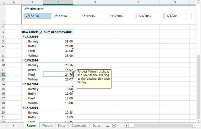 Adding and Displaying Comments to Power Pivot Results in an