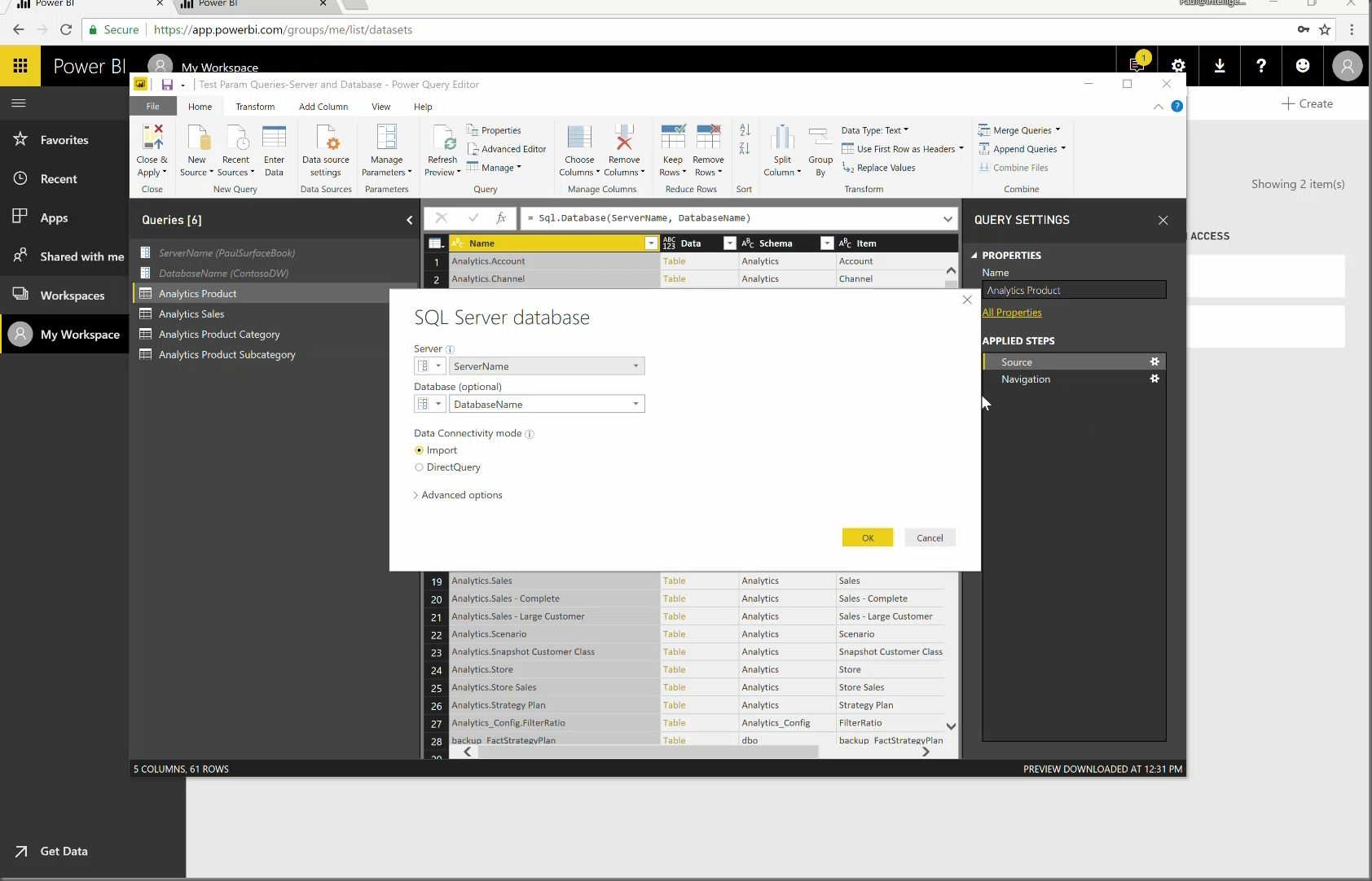 Power BI Gateway with Parameters (Time 0_00_57;24)