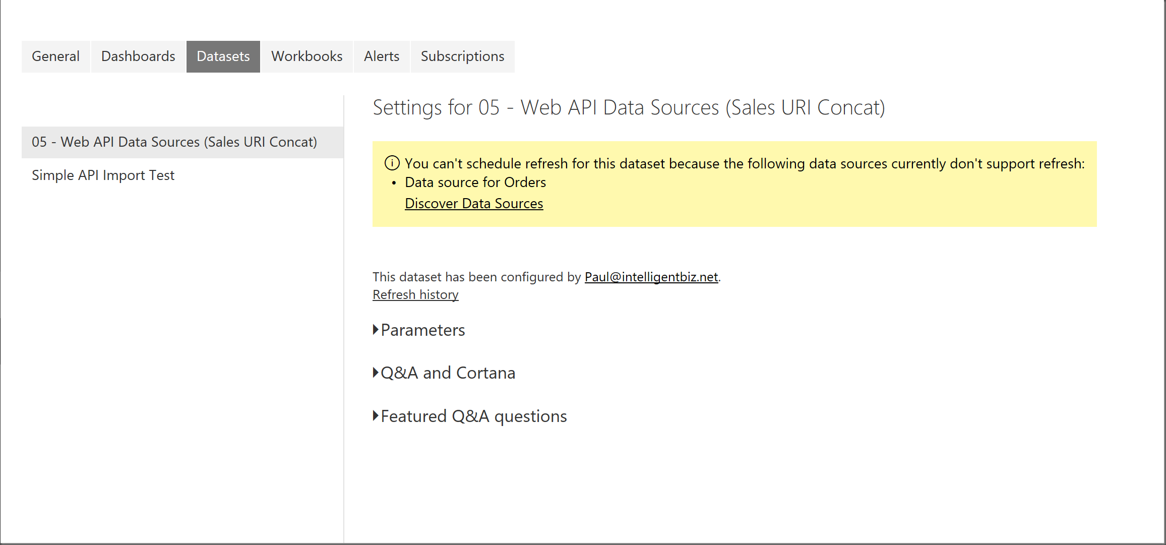 Web API Data Sources with Power Query and Scheduling Data Refresh in