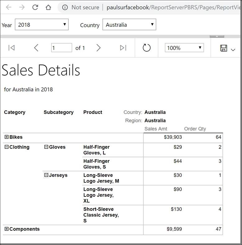 Drillthrough from Power BI to an SSRS Paginated Report